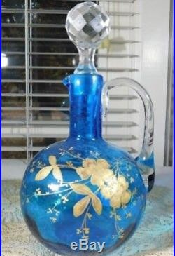 Vintage Blue Glass Moser Hand Painted Cruet Jar w Applied Glass Handle