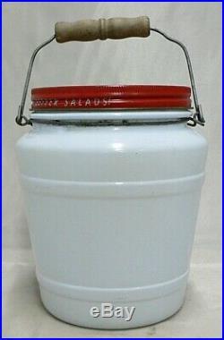 Vintage Blue Glass Salad Dressing Jar With Wood Handle