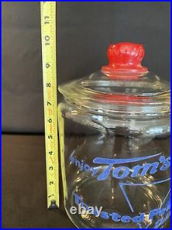 Vintage Blue Tom's Toasted Peanuts Jar WithGlass Lid & Red Embossed Tom's Handle