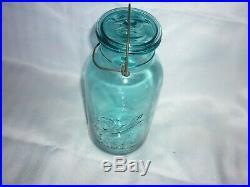Vintage Blue Turquoise Ball Ideal Pat'd July 14 1908 Bail Handle 2qt Canning Jar