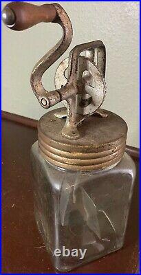 Vintage Butter Churn Glass Jar Wood Handle Metal Paddle Screw Lid Crank 560 1