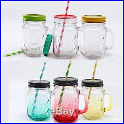 Vintage Chic Mason Jar Handle Lid Straw Drinking Mug Glass Party Wedding Decor