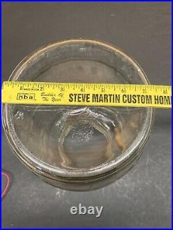 Vintage Clear Panel Glass Pickle Egg Barrel Jar Canister Wood Handle 13 x 7