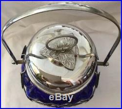 Vintage Cobalt Blue Glass & Silver Cover Sugar Jar And Comfort Handle