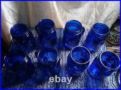 Vintage Cobalt Blue Mason Jar Mugs Glass Drinking Jars With Handles set of 8