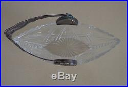 Vintage Crystal Candy Biscuit Jar Polish WW2 Jewish Silver Handle Signed Lovely