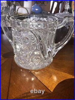 Vintage Cut Glass Double Handled Covered Biscuit Jar Crystal