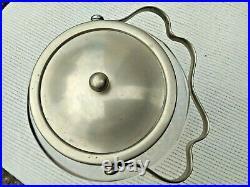 Vintage Cut Glass & Silver Plated LID & Handle Ice Bucket / Jar