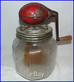 Vintage Dazey Glass Jar Butter Churn Wood Handle Paddle Primitive