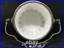 Vintage Delft Opaque Milk Glass Biscuit Jar With Handle & Lid-Landscape Scene