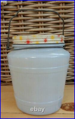 Vintage Delphite Baby Blue Glass Handled Herring Container Jar