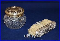 Vintage Dresser Jar withClothing Brush Sterling Silver Lid & Handle Cut Glass Jar
