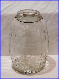 Vintage Duraglas Pickle Jar with Bale and Wooden Handle / No Lid