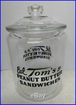 Vintage Eat Tom's Peanut Butter Sandwiches Large Glass Jar with Handle Lid