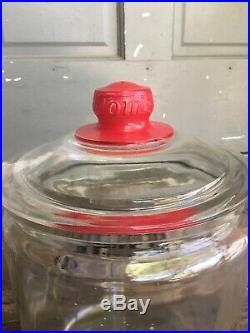 Vintage Eat Tom's Peanut Butter Sandwiches Large Glass Jar with Red Handle Lid