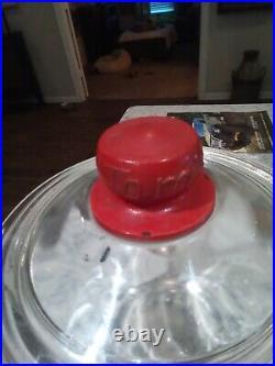 Vintage Eat Tom's Toasted Peanuts 5¢ Glass Jar withLid & Tom's Embossed on Handle