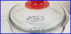 Vintage Eat Toms Peanut Butter Sandwiches Large Glass Jar 5 cents Red Handle Lid