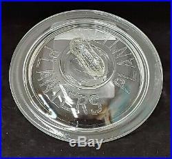Vintage Embossed Planters Peanuts 7 Glass Jar Lid with Peanut Handle