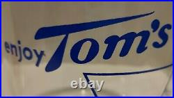 Vintage Enjoy Toms Toasted Peanuts Delicious Blue Graphics Glass Jar Red Handle