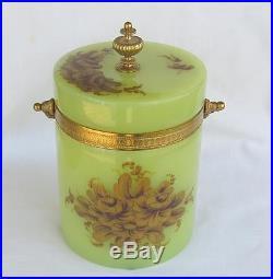 Vintage French Green Opaline Biscuit Jar Ormolu Trim Handle Gilt Flowers