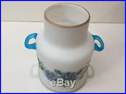 Vintage Frosted Glass Jar Canister Blue Floral withBlue Handles, Made in Italy