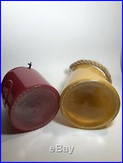 Vintage Genuine & Crafted Original Mustard Glass Vase Rope Maroon Jar Handle