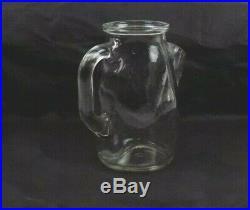 Vintage German Clear Glass Nut Jar / Server With Spout & Handle / Cork Top