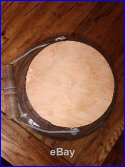 Vintage Glass Barrel 3 gallon Pickle Jar with Wood Handle bucket pail