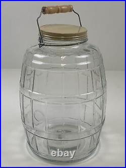 Vintage Glass Barrel Pickle Jar WithMetal Screw Lid Wire Bale Wooden Handle 2.5gal