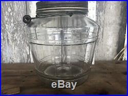 Vintage Glass Barrel Style General Store PICKLE JAR STORAGE Pretzels Wood Handle