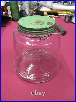 Vintage Glass Barrel Style General Store PICKLE JAR Storage with Handle-Green