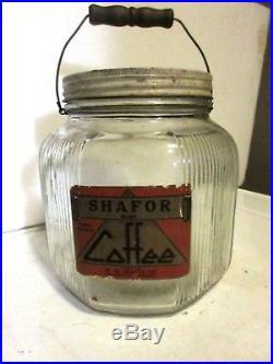 Vintage Glass Coffee Jar W Paper Label Frankfort Indiana Shafor Bail Handle LID
