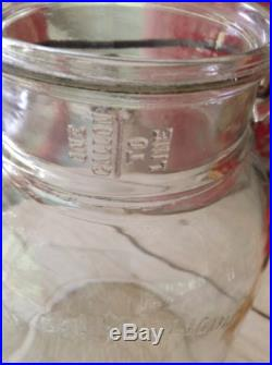 Vintage Glass Jar Butter Churn Wood Dasher Wire Handle I Gallon Signed Numbered