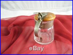 Vintage Glass Jar With Silver Handle And Wood LID 3 Tall