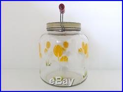 Vintage Glass Kitchen Storage Jar Wood Wire Bail Handle Metal Lid Flowers Chic