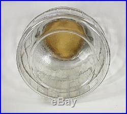 Vintage Glass Pickle Jar Barrel Shape General Store Storage Wire Handle 8.75H