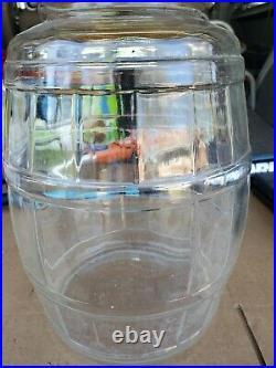 Vintage Glass Pickle Jar Large Keg Barrel Lid Bail Wood Handle 13.5