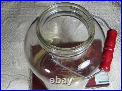 Vintage Glass Pickle Jar Red Bail Wood Handle 9.75 Tall