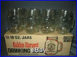 Vintage Golden Harvest 16 oz Drinking Mason Jars With Handle Set of 12 with Box