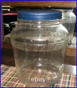 Vintage Greek Key Glass Jar with Lid and Bail Handle