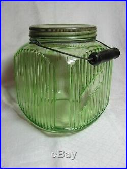 Vintage Green Depression Glass 1 gallon Cookie Jar with Handle Anchor Hocking Co