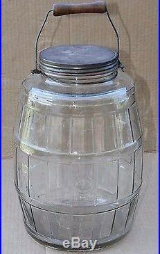 Vintage Handle Duraglas Barrel Jar Fresh Pickle Cucumber Glass Jar WithLid 2.5 gal
