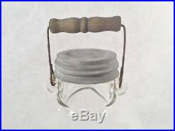 Vintage Hazel Atlas One Gallon Glass Bail Handle Jar withZinc Lid