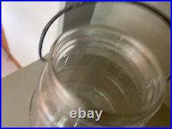 Vintage JFG Large Peanut Butter Glass Barrel-design Jar with bale handle metal lid