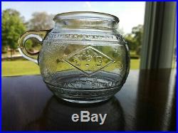 Vintage JFG Peanut Butter Glass Globe 1lb Jar JFG Coffee Company Cup Handle