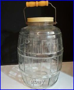 Vintage Large Glass Pickle Jar Keg Barrel style with Lid 13.5 tall Swing Handle