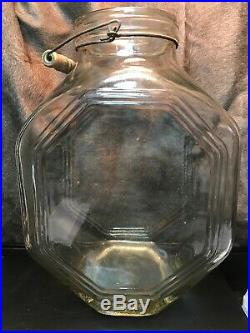 Vintage Large Glass Pickle Jar With A Wire Wooden Handle #3. 11 X 7 X 14 1/2