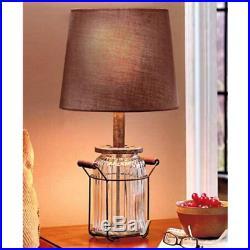 Vintage Look Glass Jar Corded Lamp Shade Decor Wooden Handles Night Light NIB