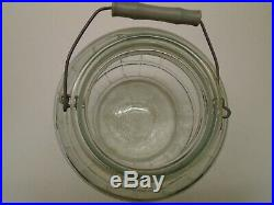 Vintage MCM General Store Glass Barrel Pickle Storage Jar w Lid Bale Wood Handle