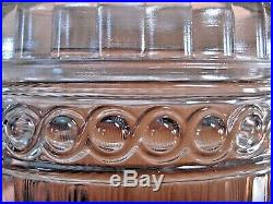 Vintage MMA Imperial Columnar Glass Biscuit Jar Frosted 3 Faced handle on lid